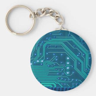 Porte-clés TRANSHUMANISM : Modèle BLEU abstrait de circuit