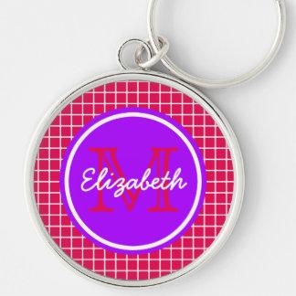 Porte-clés Trellis rose et blanc avec le monogramme pourpre