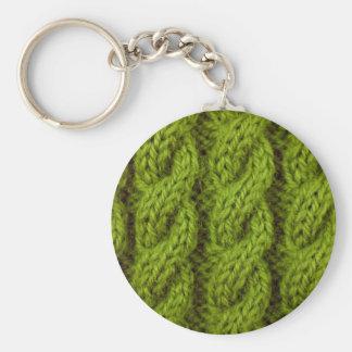 Porte-clés Tricot vert de câble