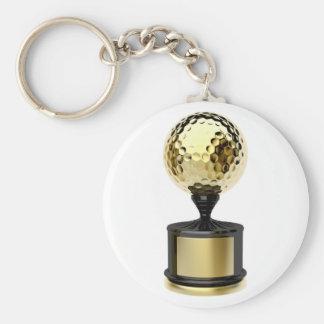 Porte-clés Trophée d'or avec la boule de golf