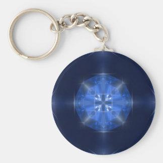 Porte-clés Tuile croisée bleue de conception par CGB Digitals
