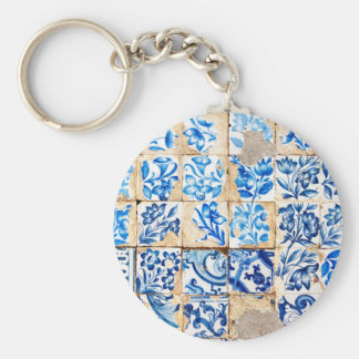 Porte-clés tuile du Portugal de décoration bleue de Lisbonne