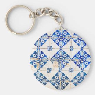 Porte-clés tuile PO du Portugal de décoration bleue de