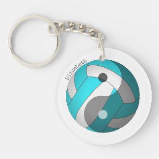 Porte-clés turquoise de volleyball de yang de yin ou TOUT nom