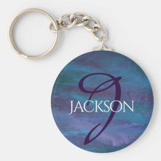 Porte-clés Turquoise pourpre bleue | de monogramme énergique