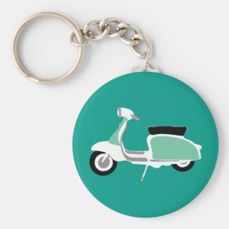 Porte-clés turquoise rond de rétro scooter