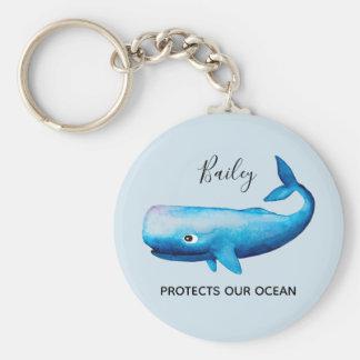 Porte-clés Typographie de mer de baleine d'aquarelle de