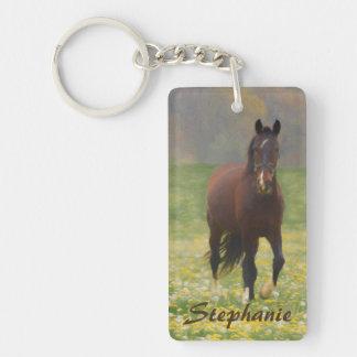 Porte-clés Un cheval de Brown dans un domaine avec des
