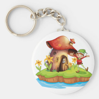 Porte-clés Un nain en dehors d'une maison de champignon