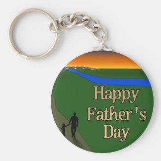 Porte-clés Une promenade tranquille de père et de fils