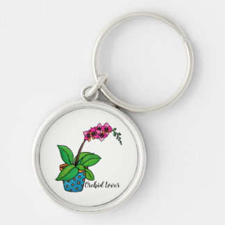 Porte-clés Usine d'orchidée d'aquarelle dans le beau pot