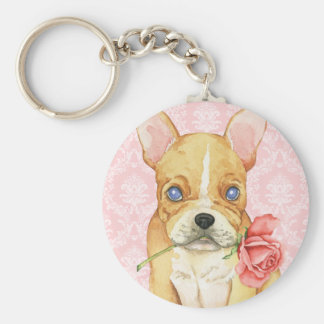 Porte-clés Valentine Frenchie rose