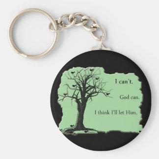 Porte-clés vert - arbre d'oiseau - je biseaute Dieu peux -