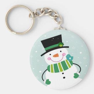 Porte-clés Vert blanc de petit bonhomme de neige mignon