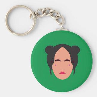 Porte-clés Vert d'eco de geisha de conception