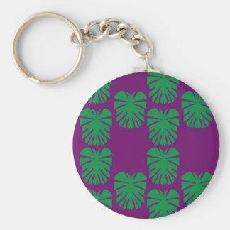 Porte-clés Vert exotique de paumes sur le pourpre