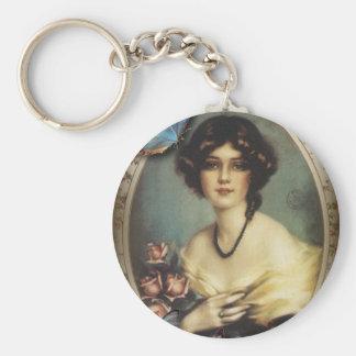 Porte-clés Victorian parisien de fille de papillon floral