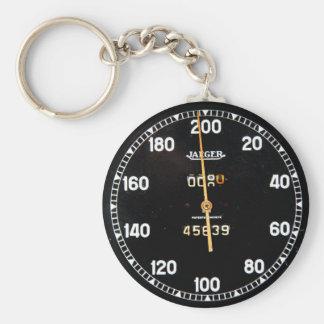 Porte-clés Vieille mesure de tachymètre d'une voiture de