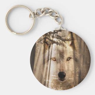 Porte-clés Visage de loup dans les bois