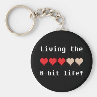Porte-clés Vivant le porte - clé à 8 bits de la vie