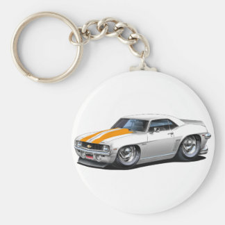 Porte-clés Voiture 1969 Blanc-Orange de Camaro solides
