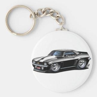 Porte-clés Voiture 1969 Noir-Blanche de Camaro solides
