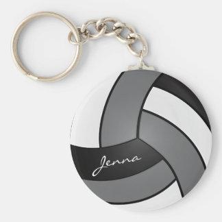 Porte-clés Volleyball gris, blanc et noir