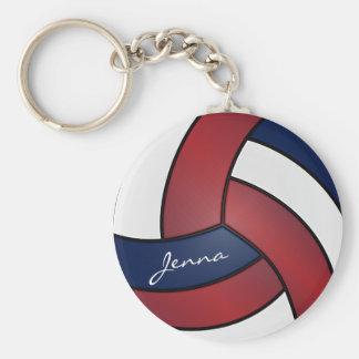 Porte-clés Volleyball rouge foncé, bleu et blanc