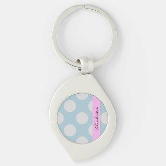 Porte-clés Votre nom - pois, motif pointillé - bleu gris