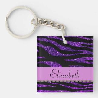 Porte-clés Votre nom - poster de animal, zèbre, scintillement
