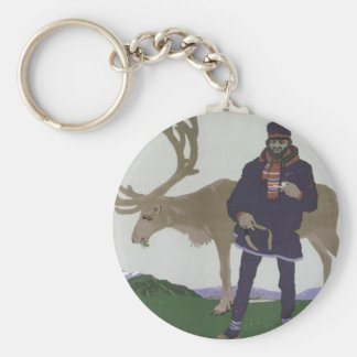 Porte-clés Voyage scandinave vintage au renne d'homme de la