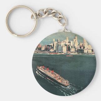 Porte-clés Voyage vintage par le bateau de croisière vers New