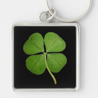 Porte-clés Vrai noir de shamrock de trèfle de 4 feuilles