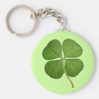 Porte-clés Vrai shamrock de trèfle de 4 feuilles