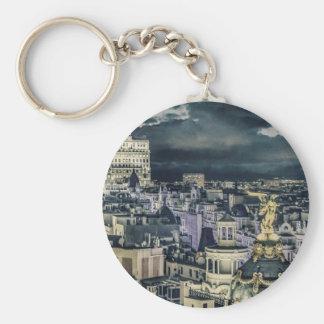Porte-clés Vue aérienne de scène de nuit de paysage urbain de