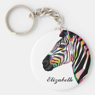 Porte-clés Zèbre coloré personnalisé d'art de bruit