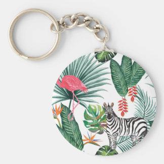 Porte-clés Zèbre et flamant tropicaux d'impression