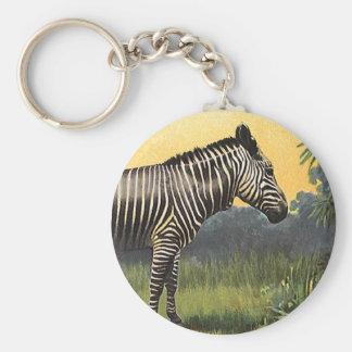 Porte-clés Zèbre vintage dans la savane africaine, animal