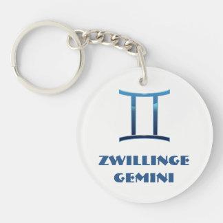 Porte-clés Zodiaque de Gémeaux de Blau Zwillinge