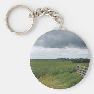 porte de barrière devant le champ avec le fer à porte-clé rond