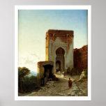 Porte de Justice, Alhambra, Grenade (huile sur la  Affiche