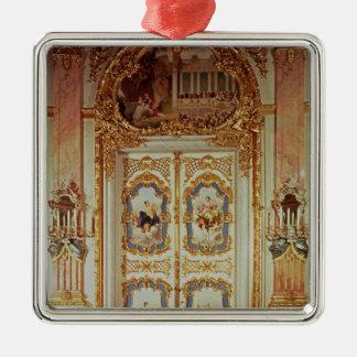 Porte de la salle de porcelaine ornement carré argenté