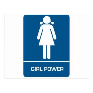 Porte de toilettes de puissance de fille carte postale