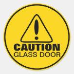 Porte en verre de signe de précaution adhésif rond