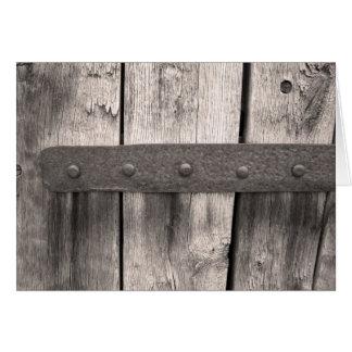 Porte et charnière en bois rustiques cartes de vœux