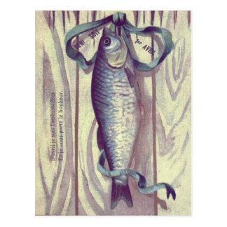 Porte française de ruban vert de poissons cartes postales