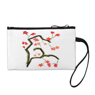 Porte-monnaie Accent rose rouge de fleurs de cerisier