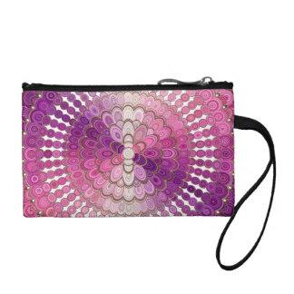 Porte-monnaie Fleur rose et pourpre de mandala
