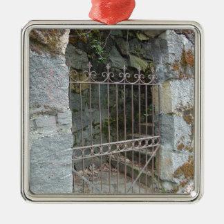Porte mystérieuse ornement carré argenté