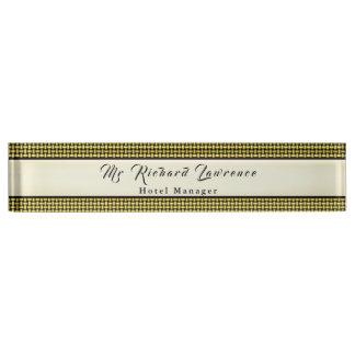 Porte-nom Pour Bureau Armure rustique futée (changement de couleur)
